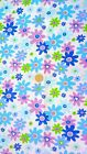Blue Pink Turquoise Floral Print Polycotton Fabric Material