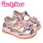 Girls Infant Toddler - Metallic Pink Bow Leather Lined Squeaky Sandals Shoes