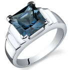 Princess Cut 2.75 cts London Blue Topaz Ring Sterling Silver Sizes 5 to 9