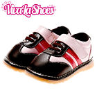 Girls Toddler - Leather Squeaky Shoes - Pink & Dark Brown Trainers