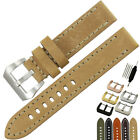 20 22 24 26mm NEW HQ Men's THICK KHAKI / BEIGE / Yellow LEATHER WATCH BAND STRAP