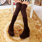 Women wedge platform high heel over the knee thigh boots stretch tights KY2