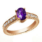 0.97 Ct Oval Checkerboard Purple Amethyst White Sapphire 14K Rose Gold Ring