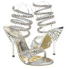 Silver Open Toe Dressy Crystal Spiral Ankle Wrap Strappy High Heel Sandal US5-10