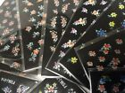 3D Nail Art Stickers Color & White Gel Flowers Decals FSMC
