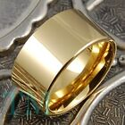12mm Tungsten Ring 14K Gold Men's Wedding Band Pipe Engagement Jewelry Size 6-15