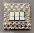 Crystal Slim Screwless 3G Gang Triple Light Switch Made With SWAROVSKI ELEMENTS