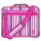laptop netbook pouch bag Memory foam Pattern of pink Stripe 10.2 inch strap new