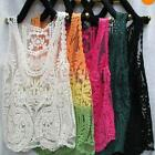 Trendy Women Hollow Crochet Embroidery Blouse Tops Lace Shirt Sleeveless Vest
