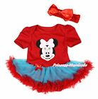 Pink Minnie Print Hot Red Bodysuit Peacock Blue Red Skirt Girl Baby Dress NB-12M