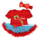 XMAS Hot Red Bodysuit Christmas Candy Cane Blue Red Skirt Girl Baby Dress NB-12M
