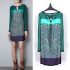 Green Europe Retro Women Crew Neck Long Sleeve Floral Print Chiffon Dress Tops