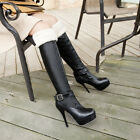 2013 Womens Sexy Pull On High Heels Platform Warm Over The Knee Boots PLUS SIZE