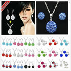 Genuine CZ Crystal Lady/Girls 925SILVER Sets Necklace + Earrings