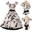 Celebrity Retro Cap Sleeve Floral Swing Rockabilly Party Evening Prom Ball Dress