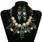 Royal Style Big Pearl Gem Cluster Chunky Choker Bib Statement Necklace + Earring