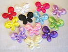 LOT  2 ou 12 APPLIQUES PAPILLON DOUBLE SATIN 3D PERLE **4,5 cm** SCRAP BARRETTE