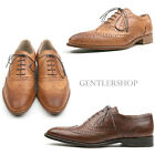 Mens Shoes Classic Washed Leather Wingtip Brogues Handmade 3431, GENTLERSHOP