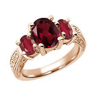3.50 Ct Oval Red Rhodolite Garnet African Red Ruby 14K Rose Gold 3-Stone Ring