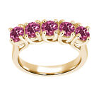 1.20 Ct Round Pink VS Tourmaline 925 Yellow Gold Plated Silver Ring