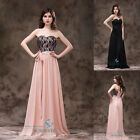 Stock Long Black Pink Evening Dress Prom Party Gowns Bridesmaid Dresses Size6-16