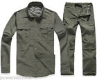 Man Army Green Quick Dry Outdoor Hiking Bush Walking UV50+ Zip Off Shirt+ Pants