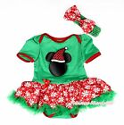 XMAS Christmas Minnie Kelly Green Bodysuit Red White Snowflake Baby Dress NB-12M