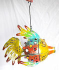 Hanging FISH metal steel TEA LIGHT HOLDER INDOOR/OUTDOOR BRIGHT multicoloured
