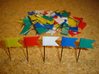 48 Flag Shape Map Pins Cork Notice Board Push Pin - Blue Green Red White Yellow