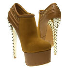 Brown Round Toe Gold Spikes Stiletto Platform Ankle Bootie High Heel Boot US5-10