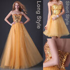 2 Style Evening Formal Prom Ball Gown Party Long Short Cocktail Bridesmaid Dress