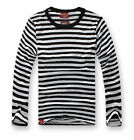 Men Fashion Casual Cotton Shirts Long Sleeve Striped T-Shirts Crew Neck Comfy