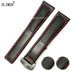 22mm NEW Red or Black stitched Black Genuine Leather Watch band strap For TAG~~