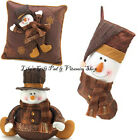 Golden Sparkle SNOWMAN Stocking Pillow Plush CHRISTMAS Holidays (10015356/7/8)