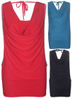 Womens Gathered Cowl Neck Ladies Sleeveless Stretch Tie Back Diamante Vest Top