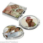 Personalised photo Heart, square, circle compact mirror birthday wedding favour