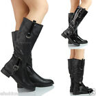 NEW WOMENS LADIES LOW HEEL FULL ZIP KNEE RIDING GUSSET WINTER BOOTS SHOES SIZE