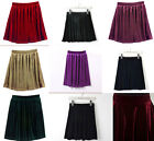 Vintage Stretch Pleated Jersey High Waist Velvet Plain Skater Flared Mini Skirt