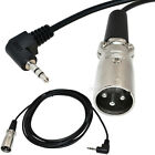 """1/6/10Ft XLR 3M male plug to Right Angle 3.5mm 1/8"""" TRS  stereo Microphone Cable"""