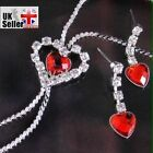 FREE GIFT/ FAST P+P Rhinestone Heart Earring+Necklace Set Jewellery