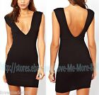 Sexy Plunging V Neck Backless Clubwear Party Casual Stretch Bodycon Dress BLACK