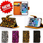 Newest Leopard Print Wallet Flip Card Glitter Case Covers For iPhone5 5S 4 4S SF