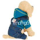 Pet Dog Puppy Smart-Look Costume Sling Jean Outfit Cloth Beige/Blue/Purple