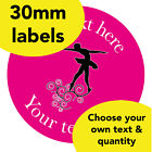30mm Personalised stickers 'Dancer swirl' Dance sport Teacher class Award label