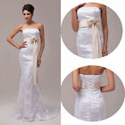Hot sale Bridal Wedding Dresses Prom Gown Evening dress 6-20 UK Size Lace Train