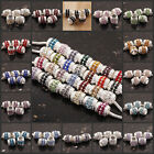 Lots New Czech Crystal Rhinestone European Large Hole Spacer Beads Fit Bracelet