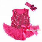 Hot Pink Sparkle Sequin Girl Bodysuit Hot Pink Bow Skirt Baby Dress NB-18Month