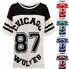 Women Ladies 87 Wolves Jersey Varsity Top Oversized Baggy Chicago T-shirt