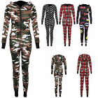 Women's Ladies Military Tartan Onesie Boom Print all in one hooded Jumpsuit In 8