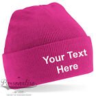 Personalised CHILDRENS Junior Cuffed Woolly Knit Ski BEANIE HAT with Name Slogan